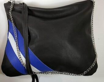 Brown & Blue striped shoulder bag
