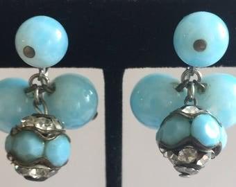 Vogue Robin's Egg Blue Glass Dangle Balls & Rondelles Earrings