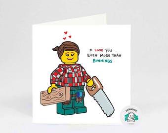 Bunnings Lego Love archival cotton art print card
