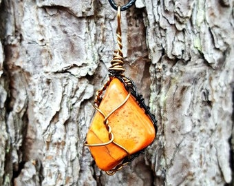 Ozarks Tumbled Stone Wire Wrapped Rock Pendant Necklace
