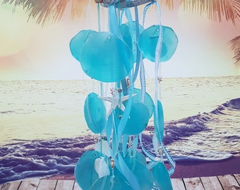 Shells mobile Wind Gong beach decoration Maternity gift Baby mobile wind chimes blue White
