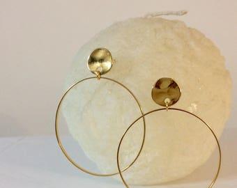 Gold hoop earrings,gold plated 24K hoop earrings,modern fashion hoop earrings,geometrical hoop earrings,orecchini a cerchio oro