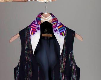 Maryke Vest with Collar of handwoven mayan brokat
