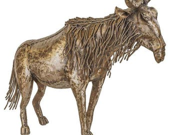Small Wildebeest Sculpture made from 100% recycled metal