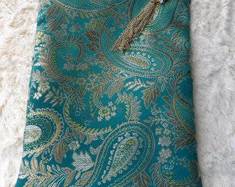 Teal Paisley Brocade Tarot Oracle Lenormand Cosmetic Zippered Handmade Bag