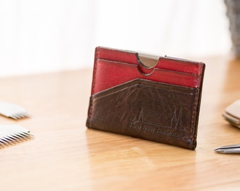 Horween leather card holder wallet UK - multi card - no coin - cardholder - lin cable - linen