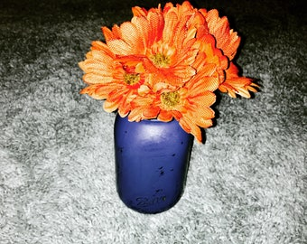 Distressed Blue Mason Jar Centerpiece