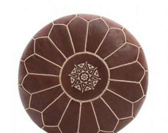 Moroccan Handcrafted Unstuffed Leather Ottoman Pouffe Pouf Footstool In Brown