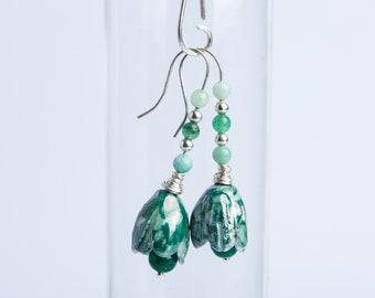 Gorgeous green -porcelain and glass earrings
