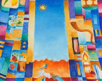 PINCHAS,original art,Judaic art,naive art,bible verse wall art,Judaica gift,small canvas art,wall art,original painting,best BarMitzvah gift