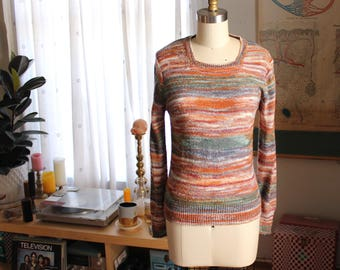vintage 1970s space dye sweater by Bobbie Brooks . womens pullover sweater size xs small . acrylic nylon blend spacedye 70s
