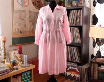 womens L XL pink pinstripe dress, 80s does 50s shirtwaist dress with elastic waist . pink and white striped dress