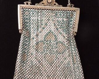 Vintage WHITING and DAVIS Elsah Enamel Mesh Bag / Metal Mesh Bag / Whiting and Davis Floral Mesh Bag / Art Deco Mesh Bag / Roaring 20s Bag