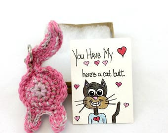 Funny Love Gifts, Mother's Day Pet Keychain, Cat Keychain Gift with Card, Cat Butt Gift, Love You Cat, Art Card Print