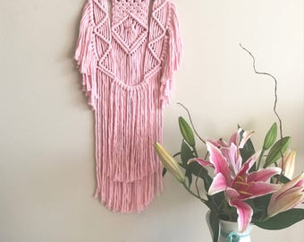 Small Cotton Candy Pink Macrame & Driftwood Wall Hanging | Modern Macrame | Boho Home Decor | Macrame Tapestry | Ava