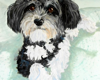 Havanese Custom Pet Portrait for Christmas Gift Giving for the Dog Lover, Custom Oil Painting, dog or cat, art oil painting Animal Art