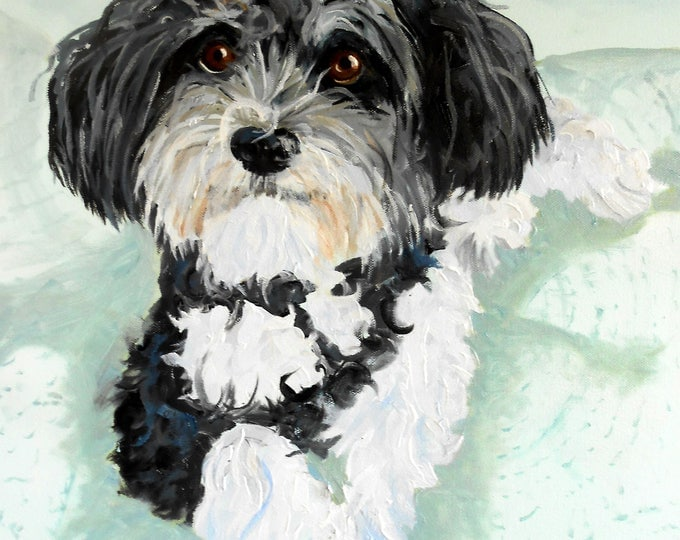 Havanese Custom Pet Portrait for Christmas Gift Giving for the Dog Lover, Custom Oil Painting, dog or cat, art oil painting