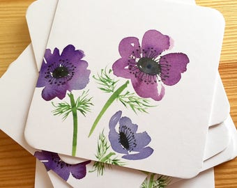 8 Watercolor Floral Coasters - Anemones Thick Paper Drink Coasters - Purple Flowers Drink Coasters - Decorative Floral Coasters