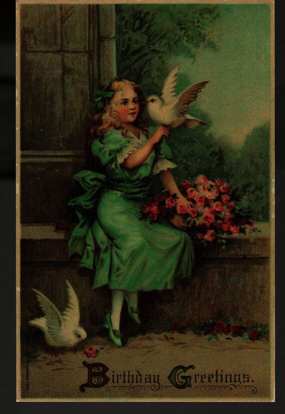 Girl With Bird + Carrying Birthday Greetings + Vintage Postcard