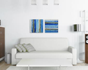 "TW0 Abstract Paintings ""Aqua 14 + Aqua 11"" by Lisa Carney, Modern Art, Minimalist Painting, Stripes, Geometric, Contemporary, Diptych, Pair"