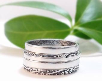 Skinny Rings, Stackable Rings, Sterling Silver Rings, Fun Summer Rings, Floral Rings, Thin Band, Delicate Rings, Womens Ring