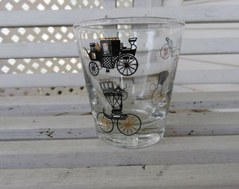 Curio Pattern Antique Car Lowball Glass by Libbey - Black and Gold Design