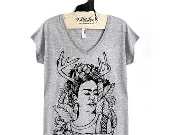 S or M -Heather Gray Tri-Blend Forest V-neck Tee with Frida Screen Print