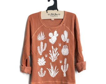SALE Small - Ladies' French Terry Crew Sweatshirt with Cactus Screen print