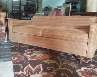 Mid Century Beige Tweed Sofa Loveseat  SHIPPING NOT INCLUDED