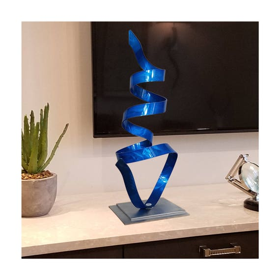 Blue abstract table top decor modern metal art contemporary for Modern tabletop decor