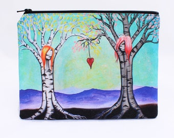 The Ties That Bind  - Zipper Pouch - Surreal Girl Trees with Special Bond - Art by Marcia Furman