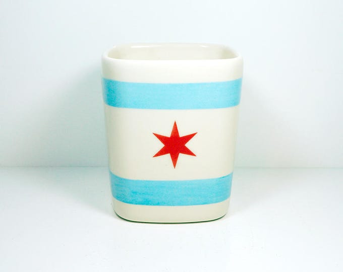 Featured listing image: Chicago Flagware. NEW. Carefully Crafted Square Vessel /Utensil Holder/Vase of Awesome in a Chicago Flag theme. Made to Order.