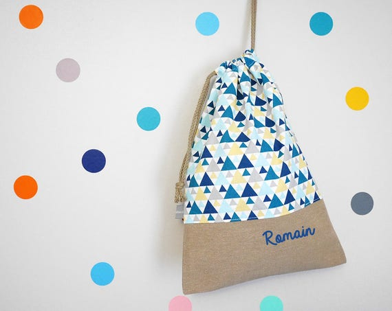 Customizable drawstring pouch - kindergarden - triangles - blue - yellow - birth gift - - school - cuddly toy