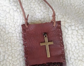 Handcrafted Leather Prayer Pouch Necklace