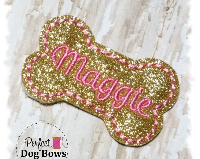 Bone Dog Bow, Gold Glitter Dog Bone Bow, Personalized Dog Bow, Bone Dog Hair Bow