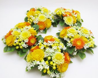 vintage candle rings set of 5 fall autumn spring flowers candle holder plastic greenery yellow orange
