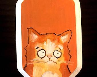 Cat Portrait on Wood #1 Original Painting