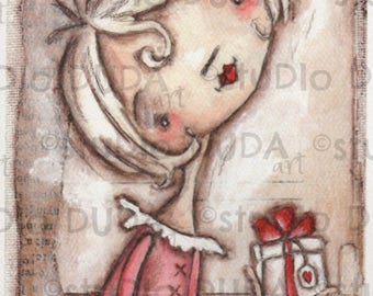Print of my Original Whimsical Love Mixed Media Painting - With Love