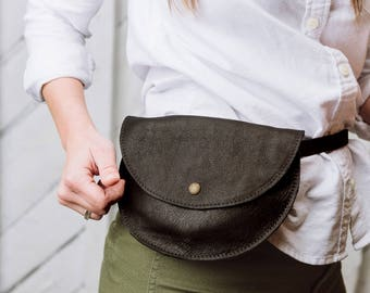 Fanny Pack, Leather, Bum Bag, Waist Bag- The Ester Fanny Pack in Black