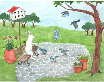 Feeding the Birds - Archival Fine Art Print - Animal Art - Cute Decor