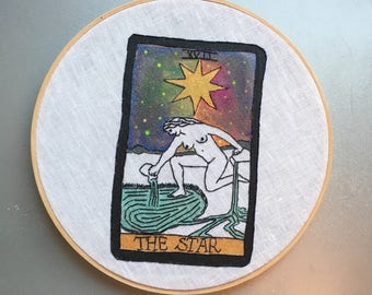 The Star XVII - hand embroidered and painted tarot card wall hanging / hoop art