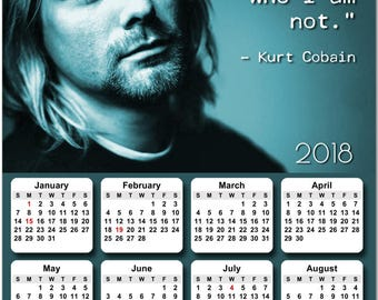 "Nirvana Kurt Cobain 2018 Full Year View 8"" Calendar - Magnet or Wall #3838"