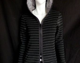 Striped French Terry Fleece Zip Long Hoodie - Unique, Festival, Yoga