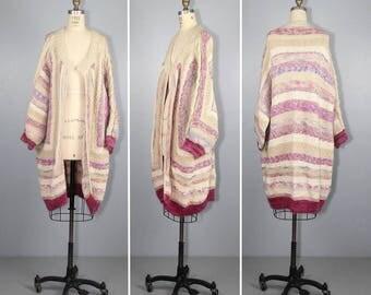1970s sweater / chunky knit / oversized cardigan / TOPANGA CANYON sweater