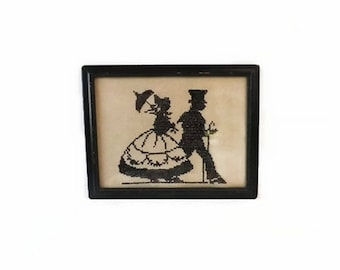 Vintage Silhouette Cross Stitch Lady & Gentlemen, Cottage Chic Folk Art Framed Needlework, Victorian Wall Hanging