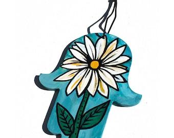 Daisy Flower Hamsa Hand - Hand Painted Hamsa Hanging - Flower Hamsa - Protective Hand - Housewarming Gift