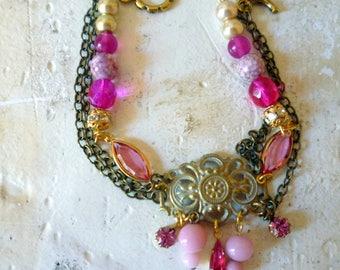 Art Nouveau Glam Bracelet Pink  Magenta Pearl