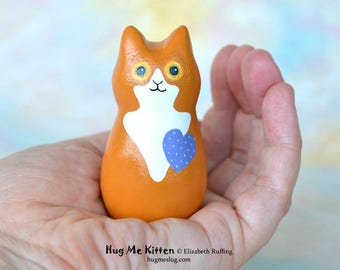 Handmade Kitty Cat Figurine, Miniature Sculpture, Ochre Gold and Blue, Hug Me Kitten, Animal Totem Charm Figure, Personalized Tag