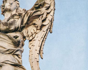 "Stone Angel Statue in Rome, Italy Photography, Angel Wings Wall Decor, Living Room Art, Fine Art Photography ""Calling All Angels"""