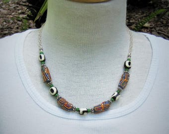 Multicolor Trade Bead necklace- Artisan jewelry, Bohemian, Art to Wear, Ethnic
